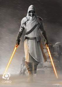 Jedi mercenary - alone - digital paint - star wars -