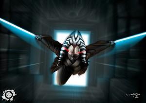 Shaak-ti in attack- jedi - star wars - fan art - illustrator - illustration - photoshop paint